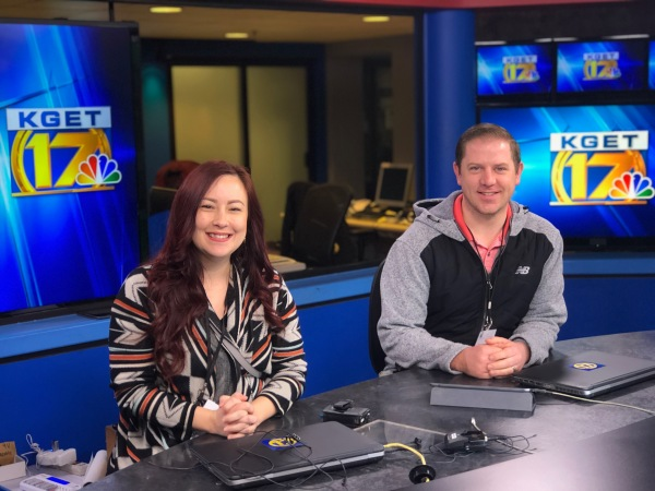 Endee and Brandon at the KGET news desk