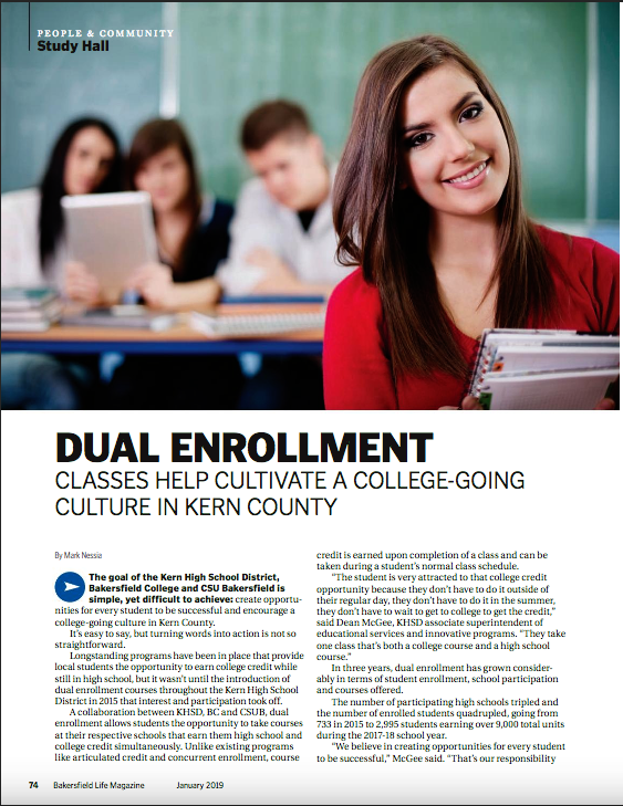 Screen shot of Dual Enrollment feature page