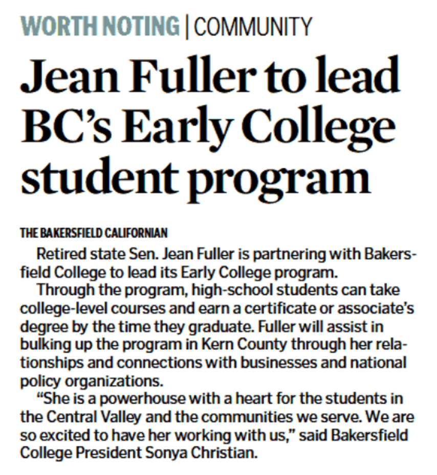"""Bakersfield Californian's Announcement """"Jean Fuller to lead BC's Early College student program"""""""