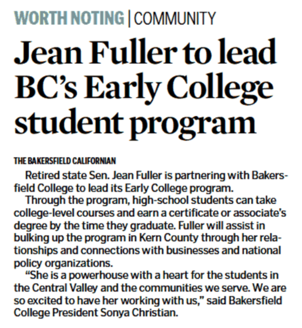 "Bakersfield Californian's Announcement ""Jean Fuller to lead BC's Early College student program"""