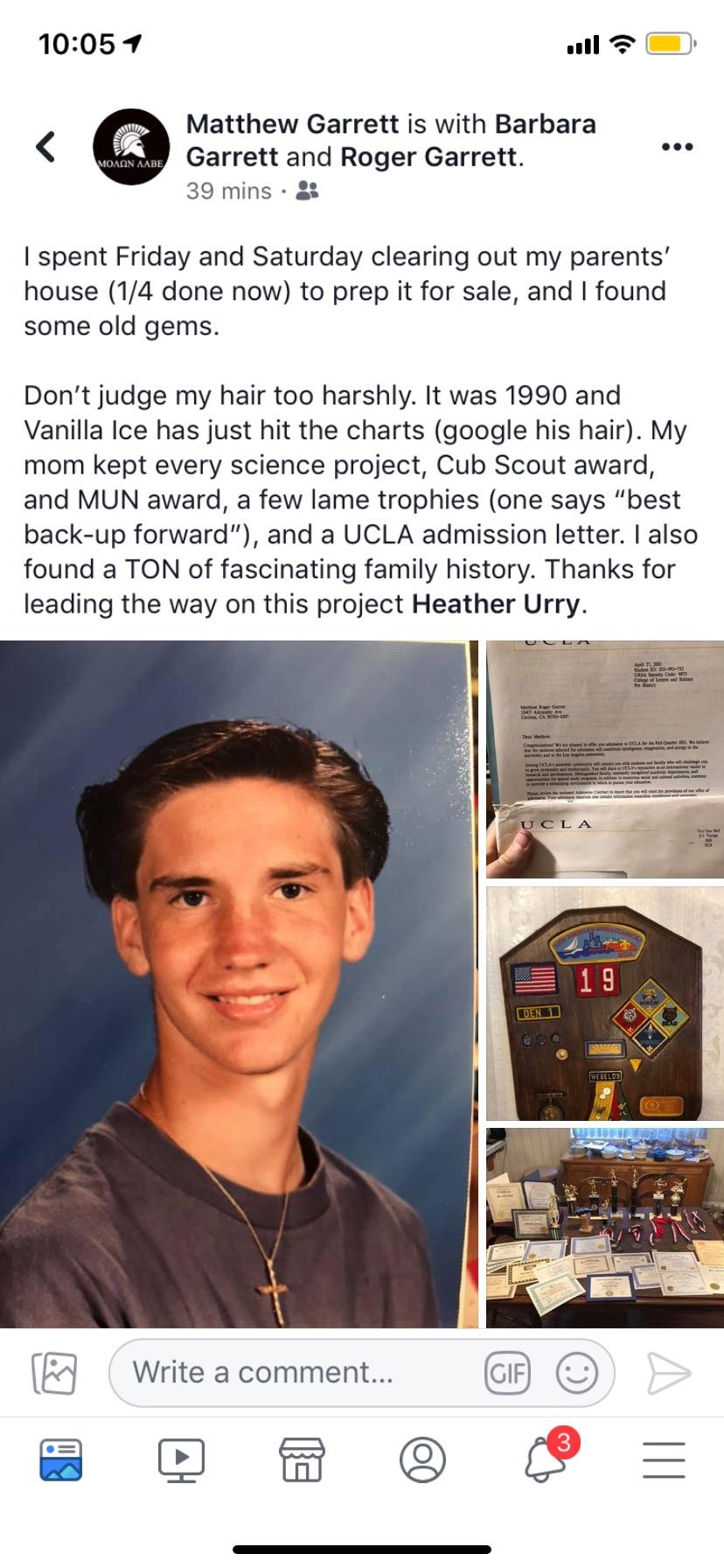 Matt Garret's post about having Vanilla Ice hair in high school