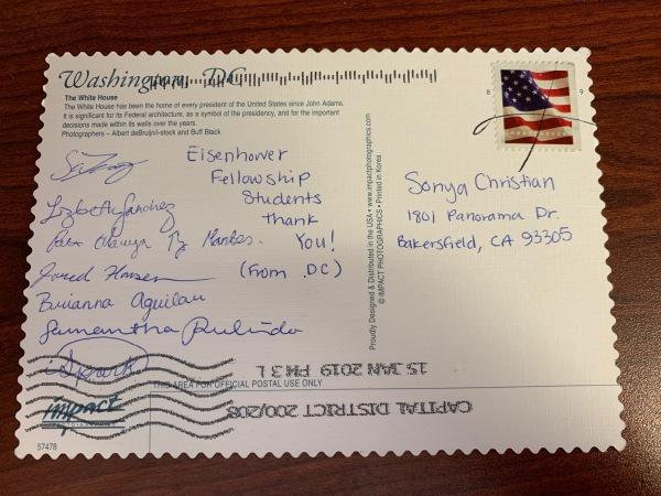 7名学生签名的感谢索尼娅的明信片