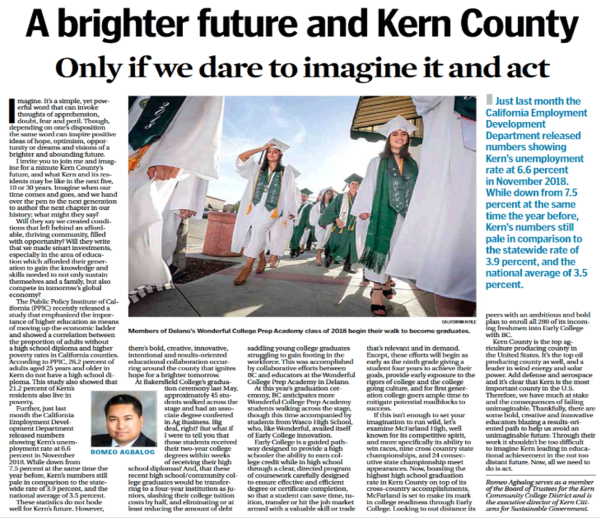 A Brighter future and Kern County Only if we dare to imagine it and act.