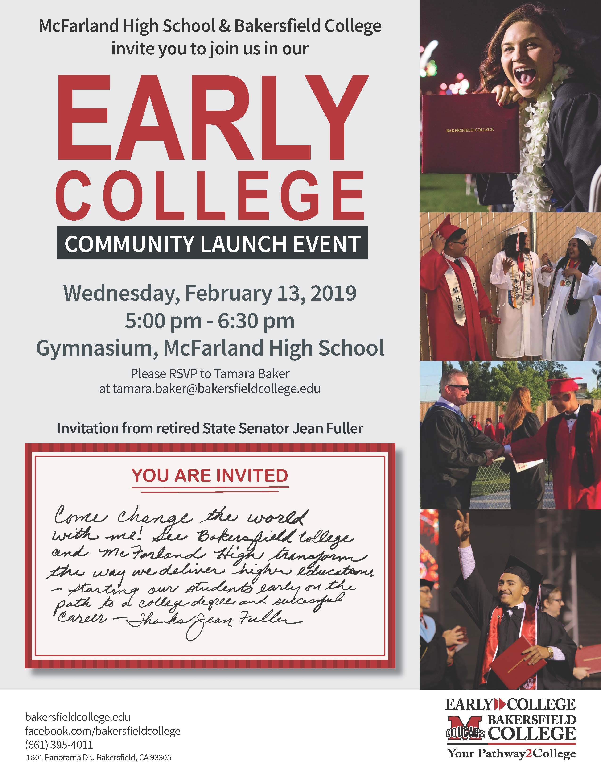 Early College Community Launch Event Invite