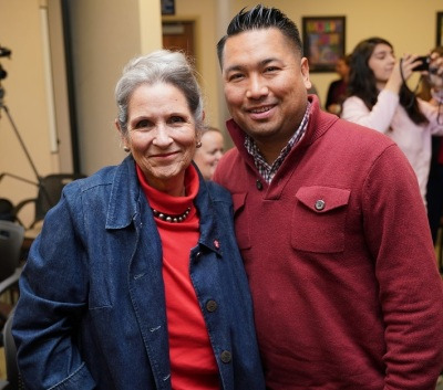 KCCD Trustees Nan Gomez Heitzeberg and Romeo Agbalog