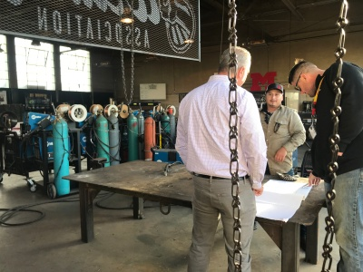 the BC team visits Mcfarland welding shop