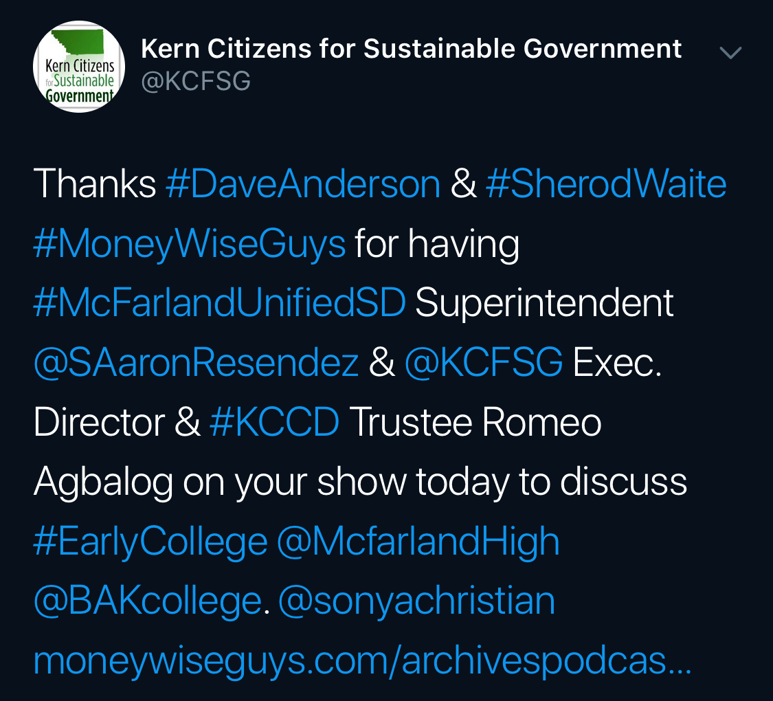 Kern Citizens for Sustainable Government thanking everyone.