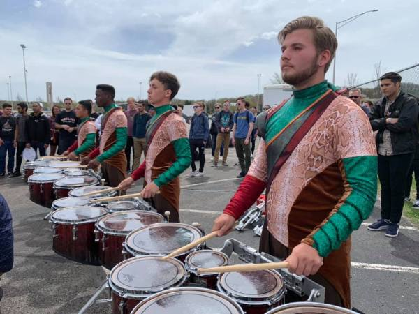 BC drumline performing