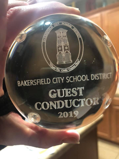 Award for BCSD guest conductor 2019