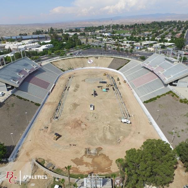 Drone footage of Memorial Stadium construction