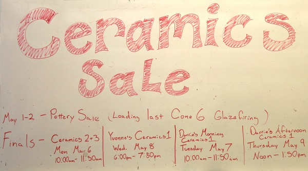 Ceramics Sale board