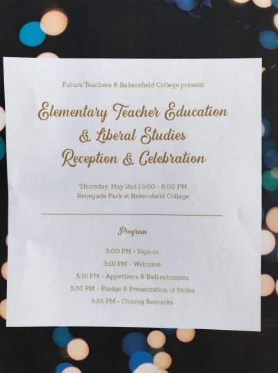 Program: Elementary Teacher Education & Liberal Studies Reception & Celebration.