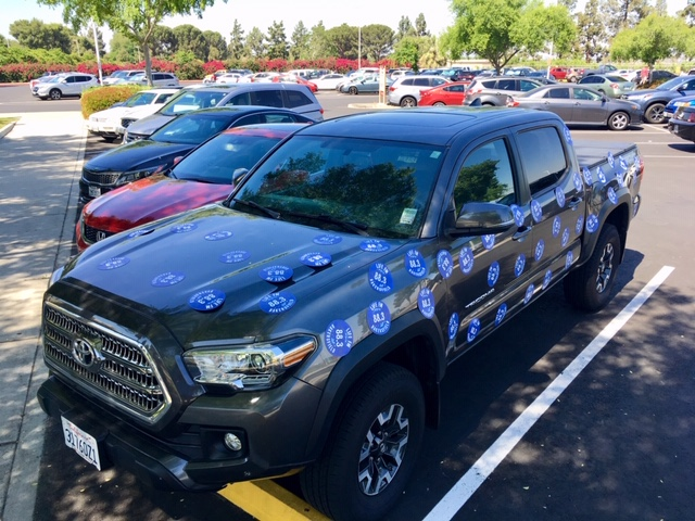 VP Rozell's truck covered in stickers
