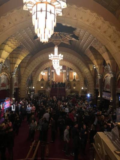 Pantages lobby full of guests
