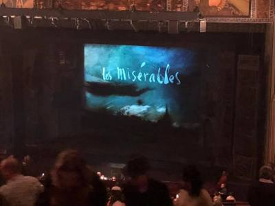 "The screen before showtime shows ""Les Miserables"""