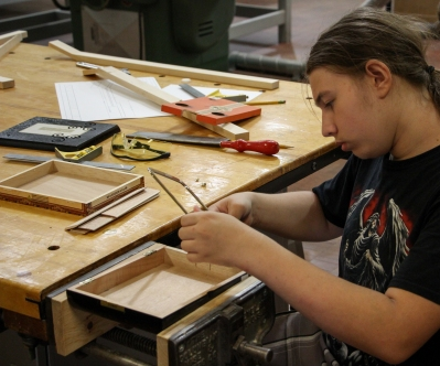 Student constructing his guitar.