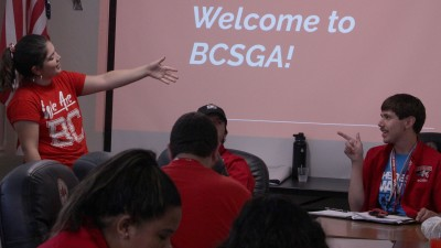 BCSGA President Samantha Pulido speaks to her Renegade constituents