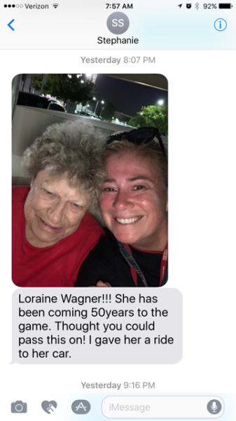 Loraine Wagner! She has been coming 50 years to the game. Thought you could pass this on! I gave her a ride to her car.