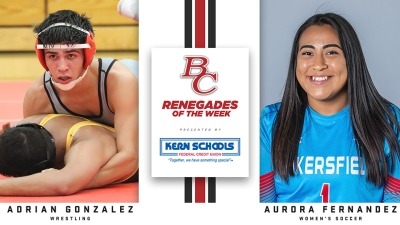 Presented by Kern Schools, Gonzalez wrestling and Aurora in a jersey smiling.