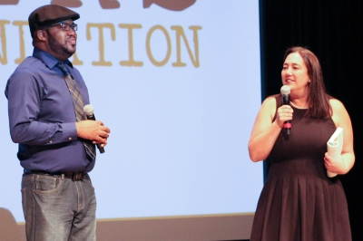 Erin Gruwell and friend on stage