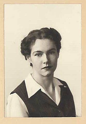 Margaret Haight as a young woman in BW photo.